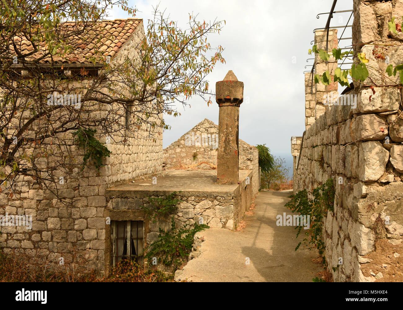Lastovo old town on island of Lastovo, Croatia - Stock Image