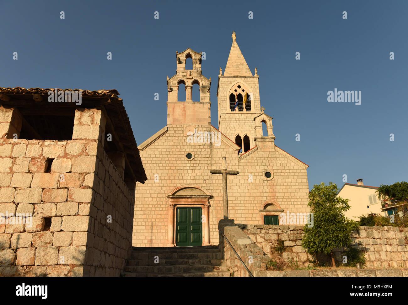 The church of Saint Kosmas and Damian in Lastovo town on  island of Lastovo, Croatia - Stock Image