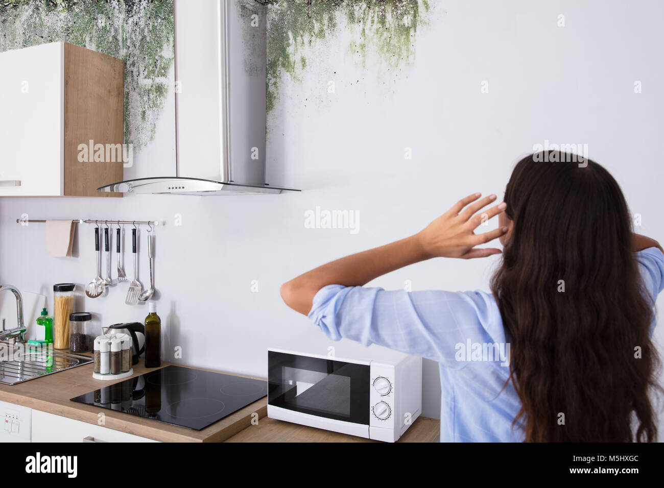 Rear View Of Shocked Woman Looking At The Damaged Ceiling In Kitchen - Stock Image