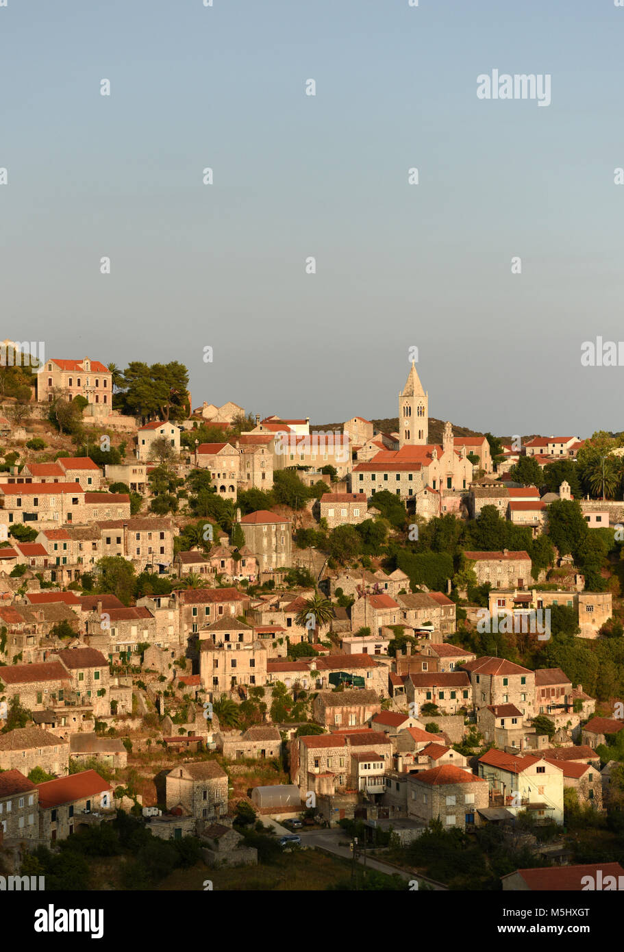 Lastovo old town, Lastovo island, Croatia - Stock Image
