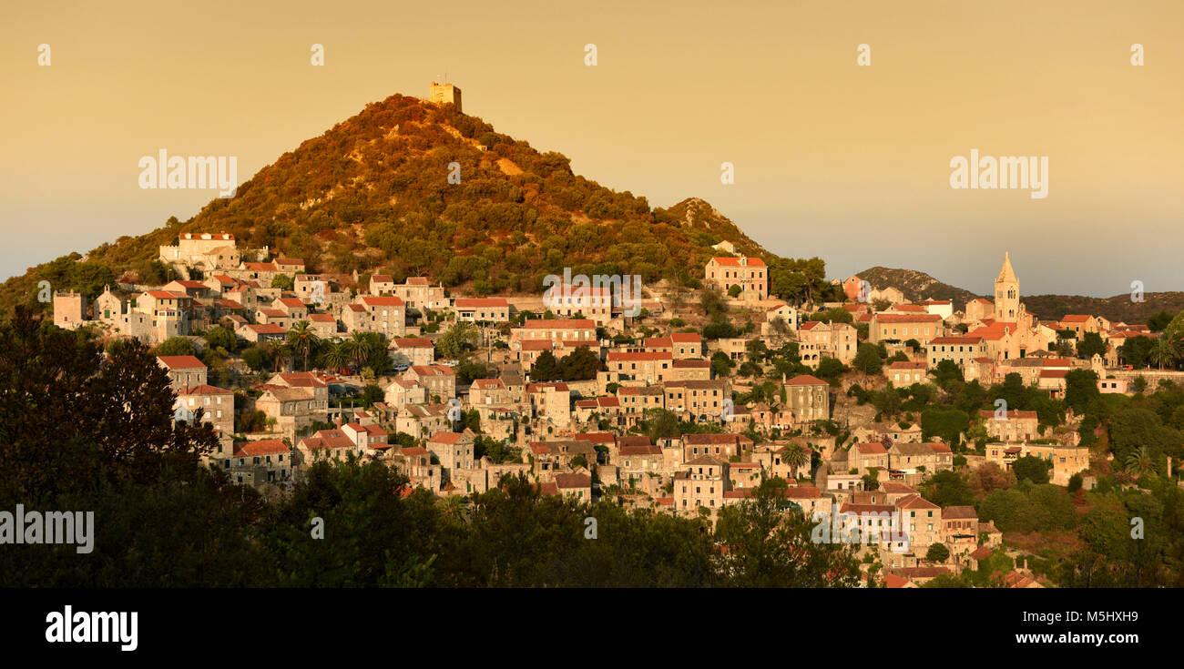 Lastovo old town panorama, Lastovo island, Croatia - Stock Image