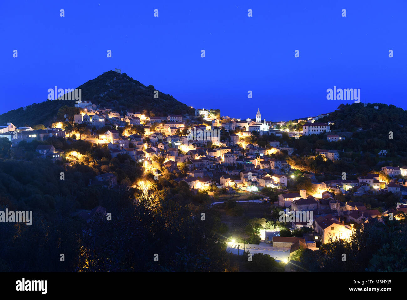 Lastovo old town at night, Lastovo island, Croatia - Stock Image