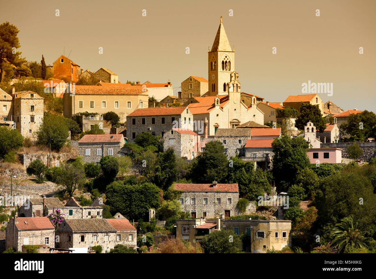 Lastovo old town, Lastovo island, Croatia Stock Photo