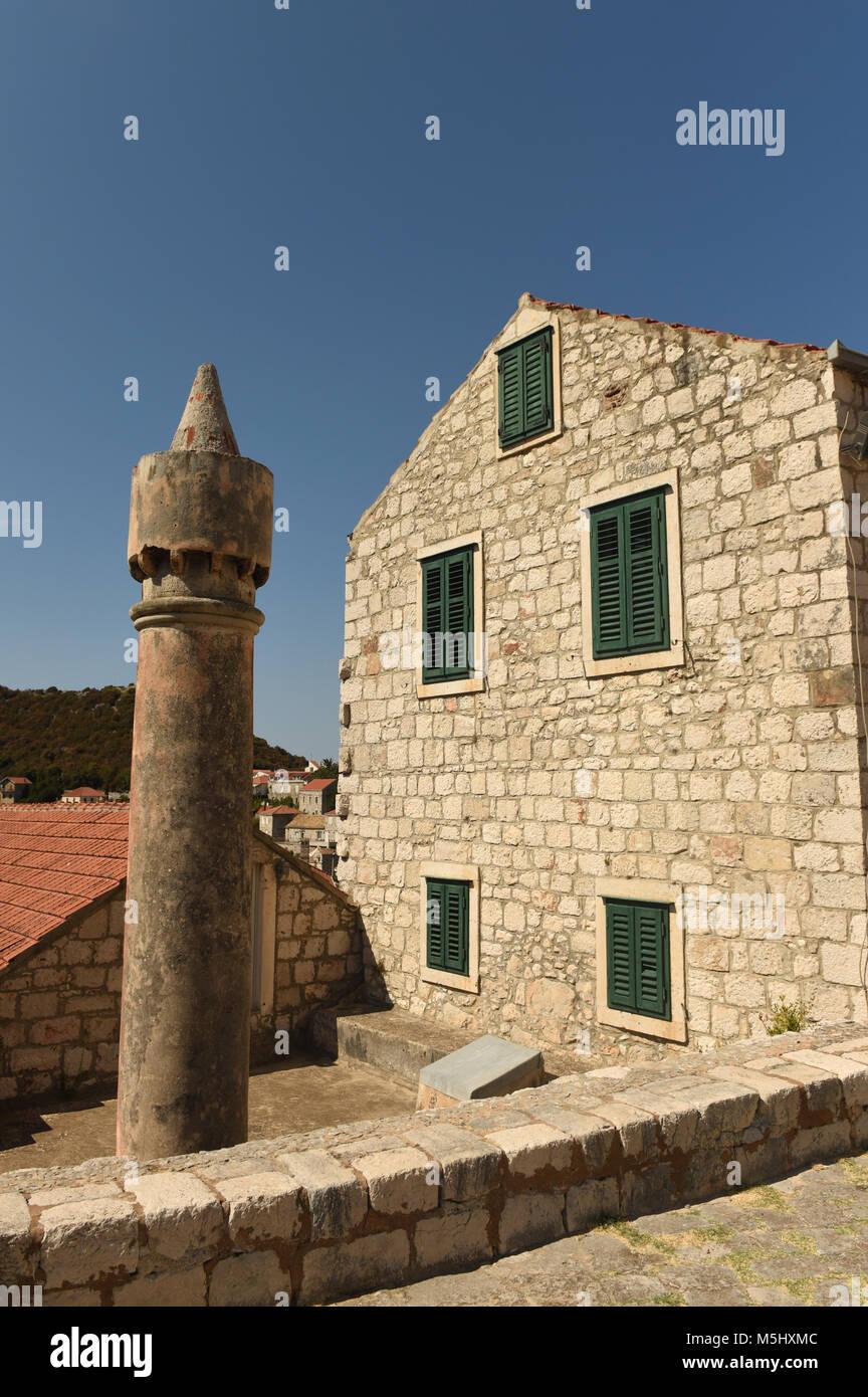 Cylindrical chimneys Fumar (fumari) on Lastovo island, Croatia - Stock Image