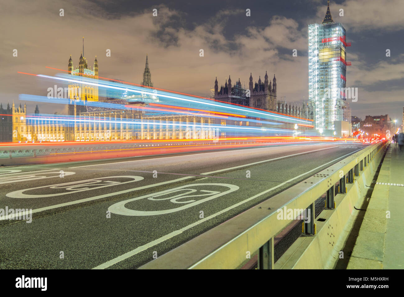 London, United Kingdom, February 17, 2018: long exposure shot of Westminster bridge and big ben renovation scaffolding Stock Photo