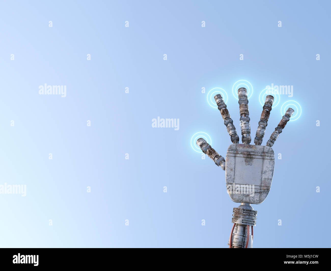 Robot hand pressing illuminated buttons - Stock Image