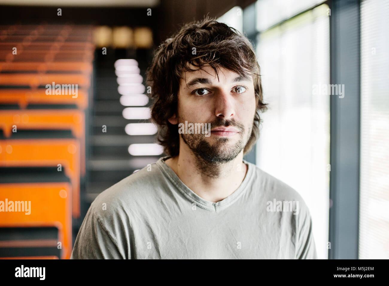 junger Mann, Student, im Hörsaal einer Universität,  Aachen - Stock Image