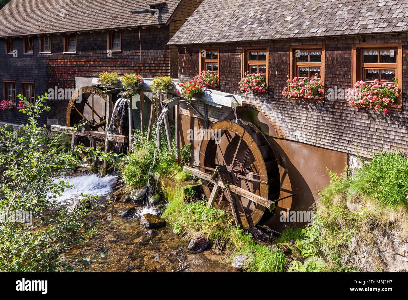 Deutschland, Baden-Württemberg, Schwarzwald, Hexenlochmühle, Mühle, Bach - Stock Image