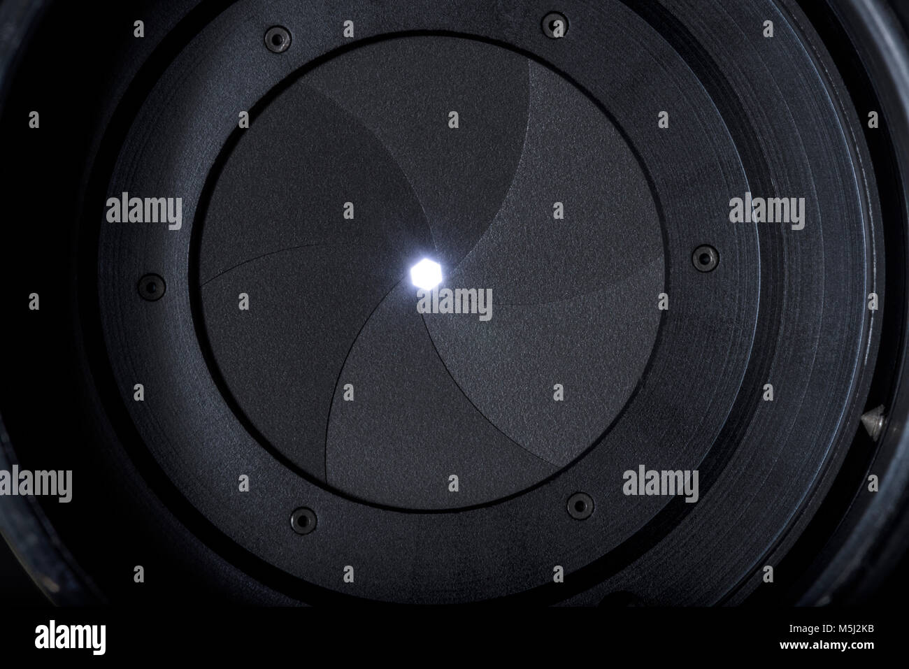 Analog photographic camera parts, diaphragm blades,  mechanism and controls details high definition closeup - Stock Image