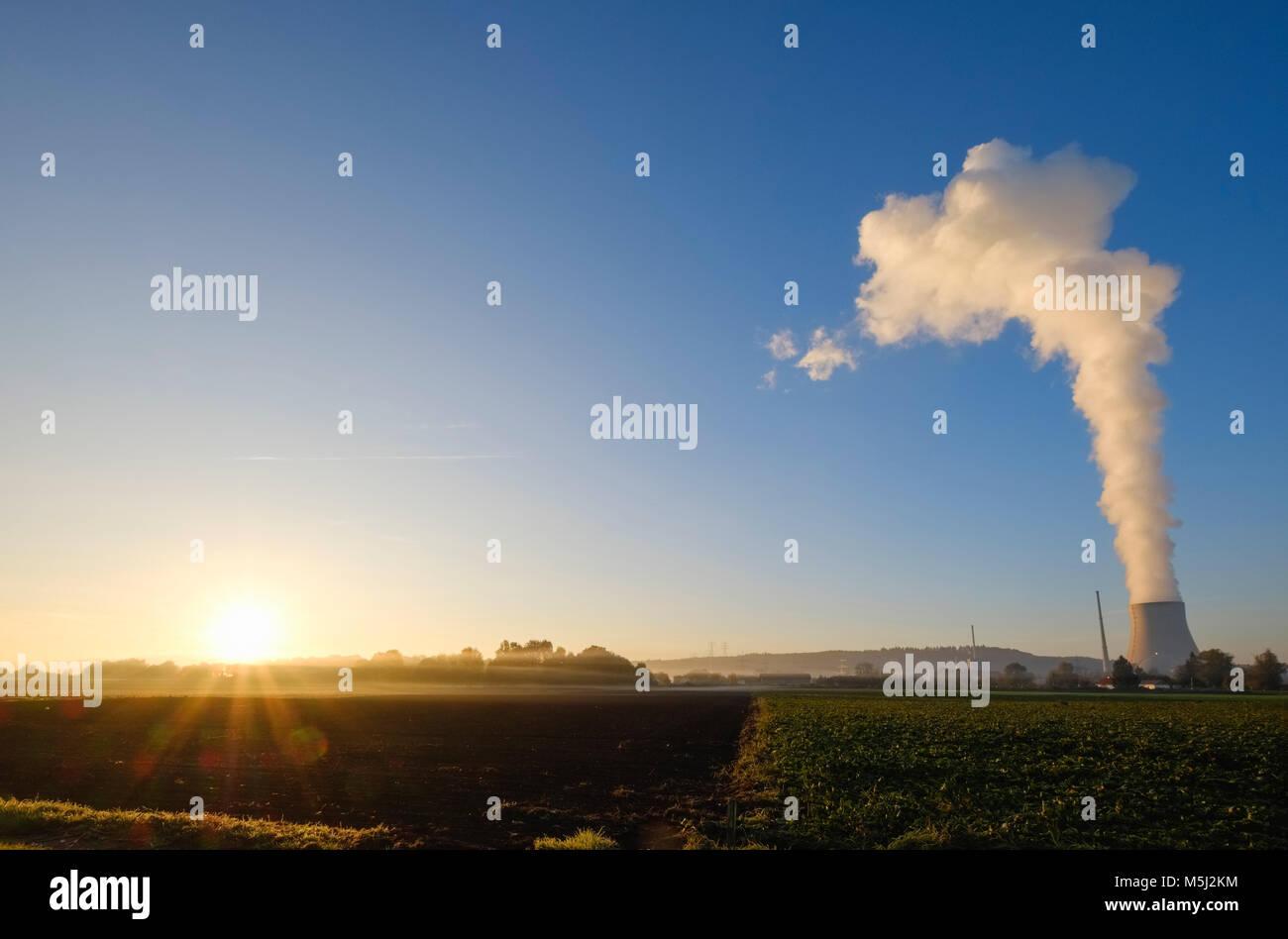 Dampfwolke aus Kühlturm, Sonnenaufgang, Kernkraftwerk Isar, Ohu, Niederbayern, Bayern, Deutschland - Stock Image