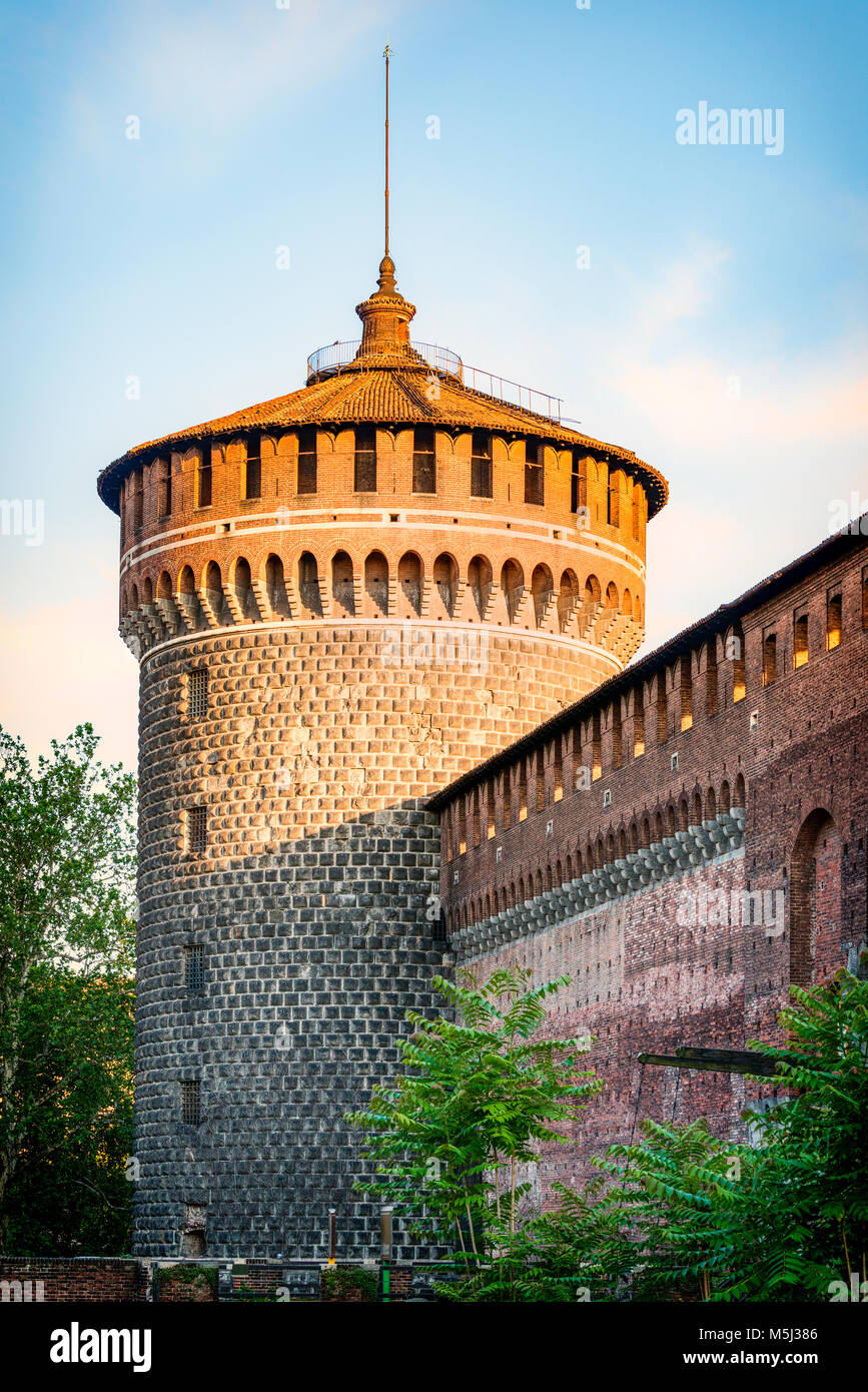 Italy, Milan, defence tower of Castello Sforzesco - Stock Image