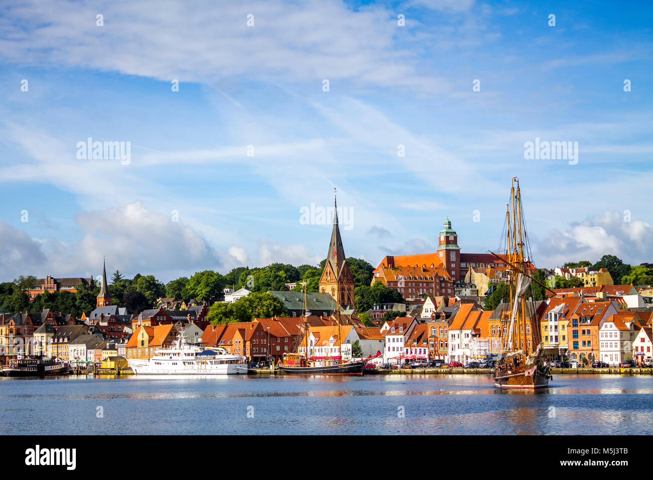 Germany, Schleswig-Holstein, Flensburg, city view and harbour - Stock Image
