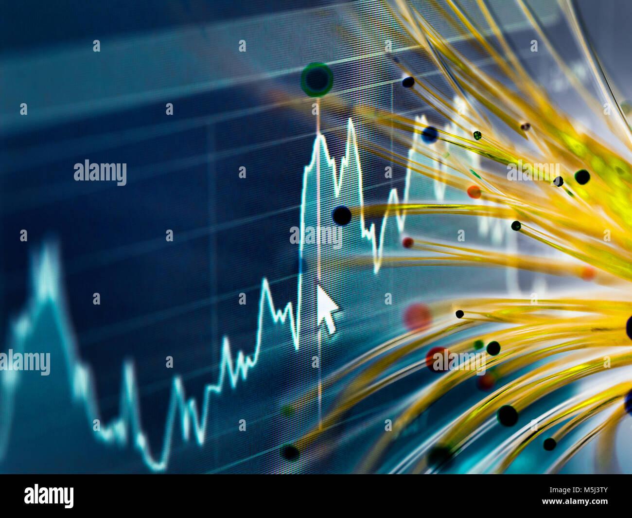 Financial charts and fibre optics symbolizing innovative stock market developments - Stock Image