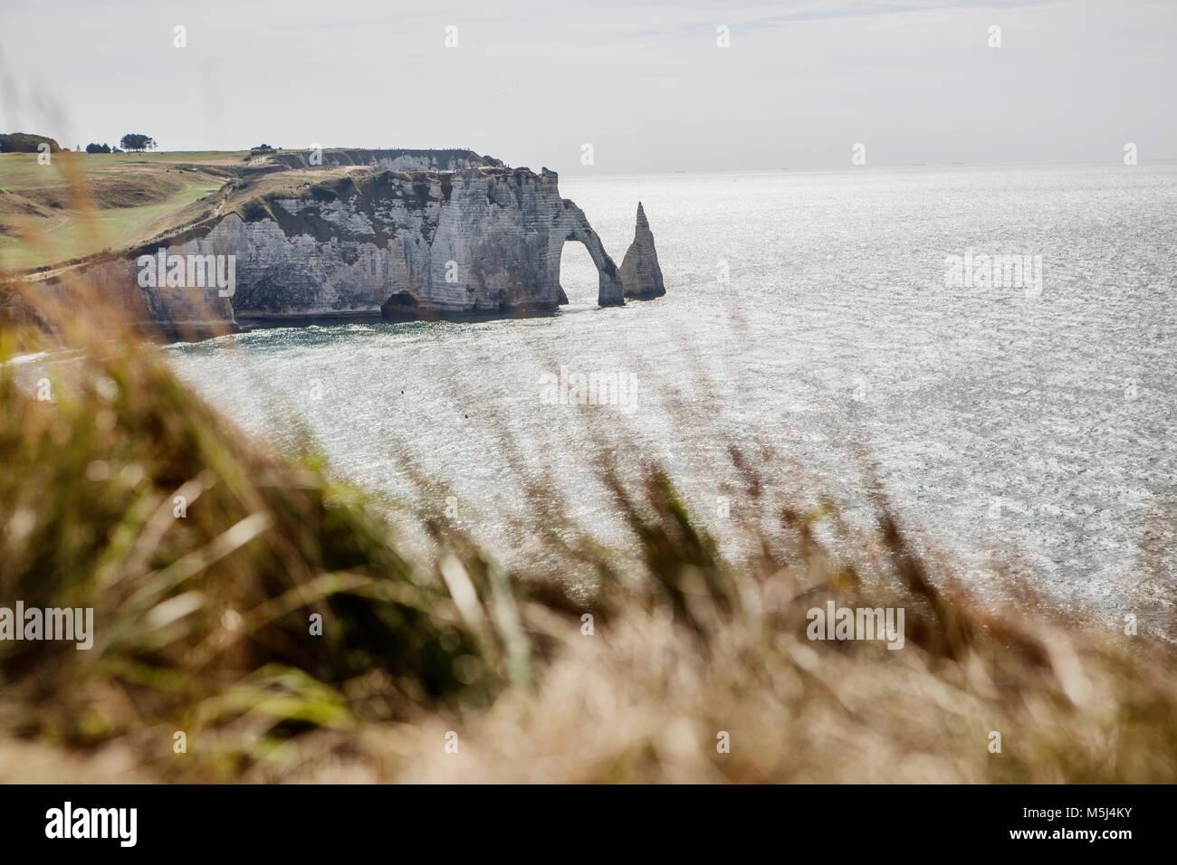 Falaise d'Etretat, Felsenküste von Etretat, Étretat, Porte d'Aval und die Aiguille,Etretat,Alabasterküste,Normandie,Frankreich - Stock Image