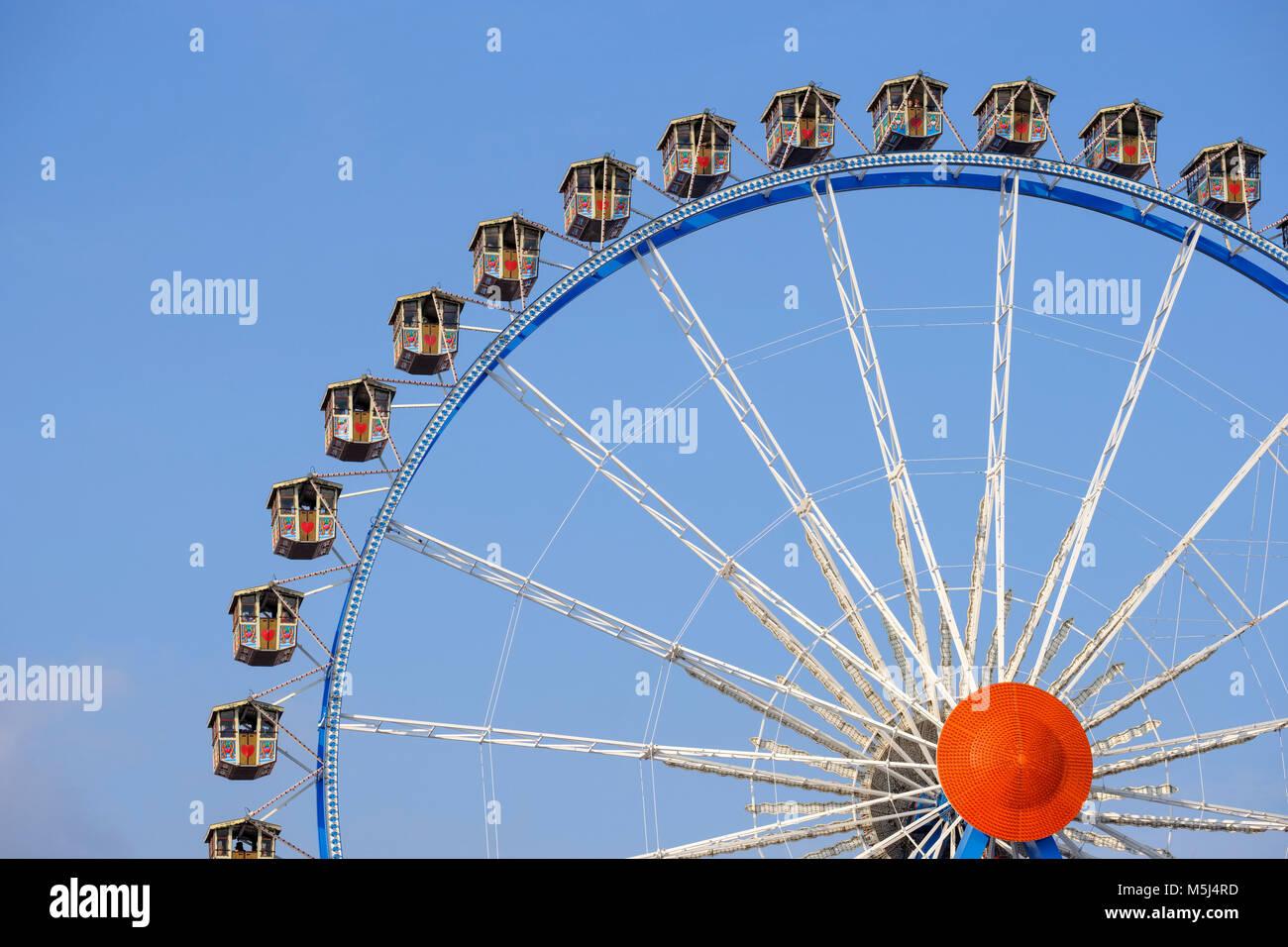 Oktoberfest-Riesenrad, Wiesn, München, Oberbayern, Bayern, Deutschland - Stock Image