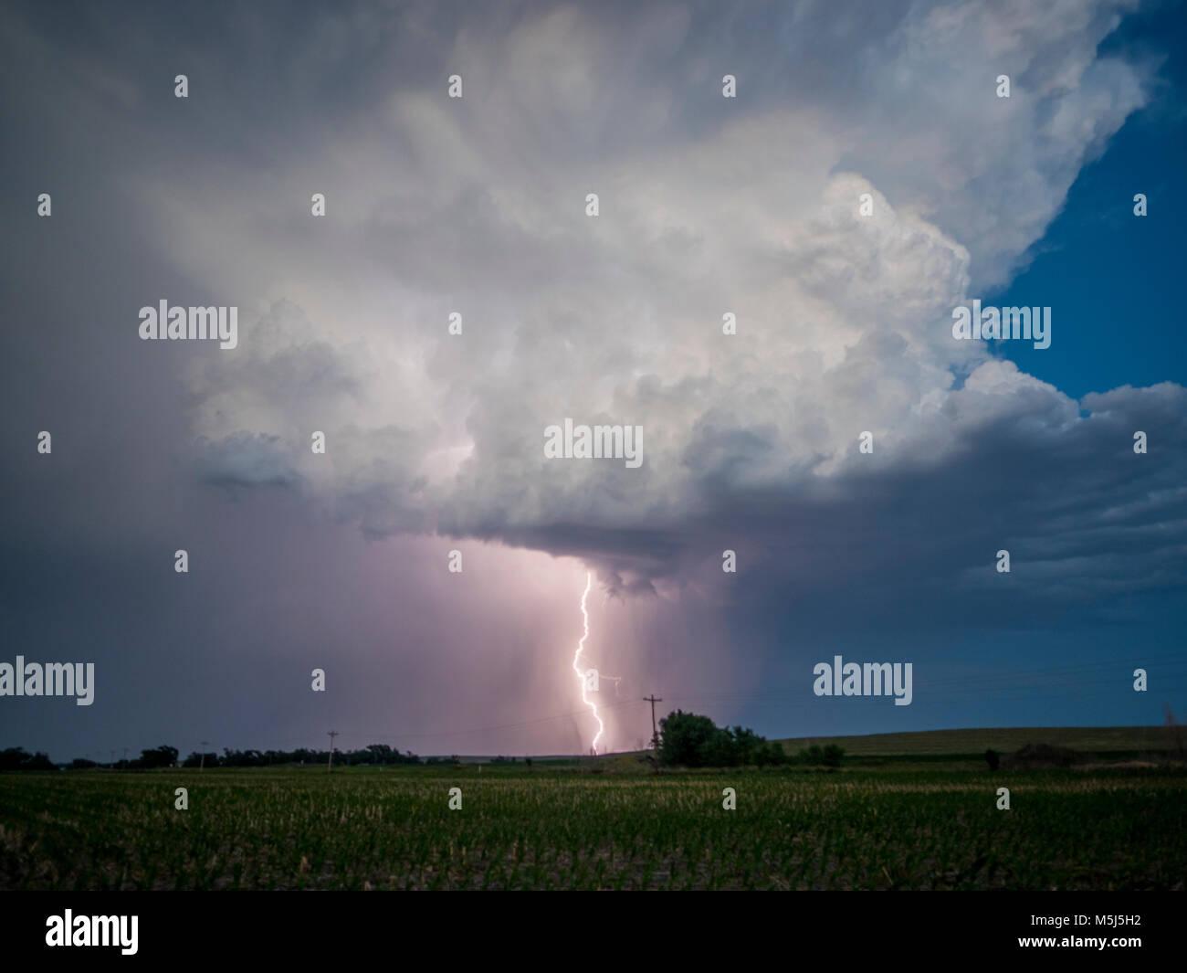 Lightning near Stamford, Nebraska, 21 June 2017 Stock Photo