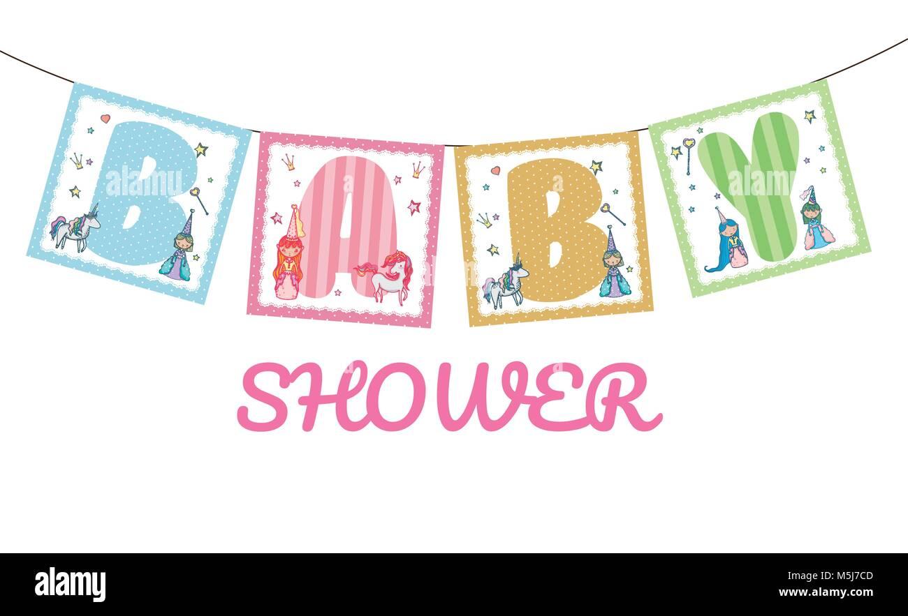 Baby Shower Banner Stock Vector Art Illustration Vector Image