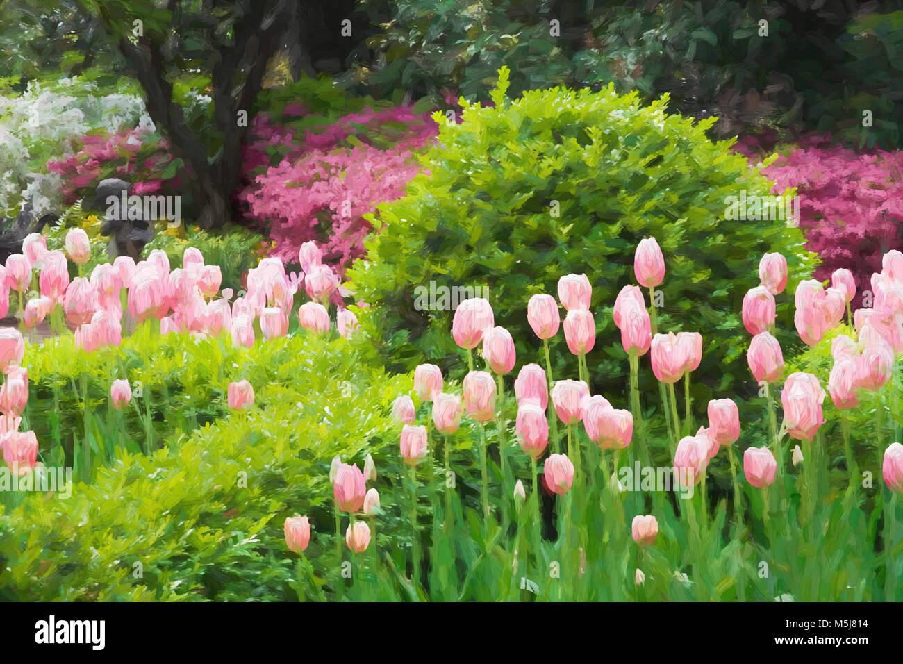 Impressionist art of a beautiful garden in Charleston South Carolina - Stock Image