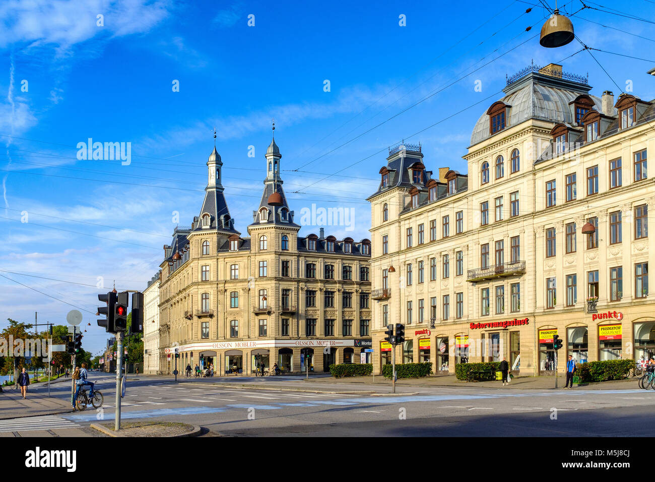Copenhagen, Zealand region / Denmark - 2017/07/26: The Soerne Lakes district in central city - tenement houses and - Stock Image
