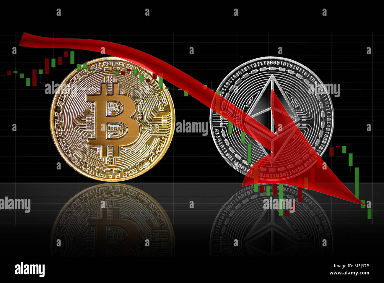 Bearish trend in cryptocurrency market of bitcoin and ethereum - Stock Image