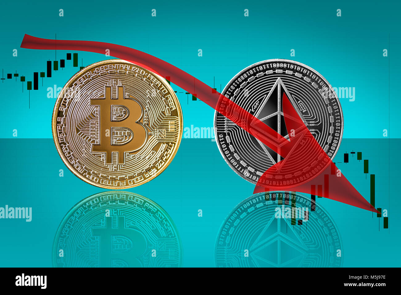 Bitcoin ethereum coins in bearish trend - Stock Image