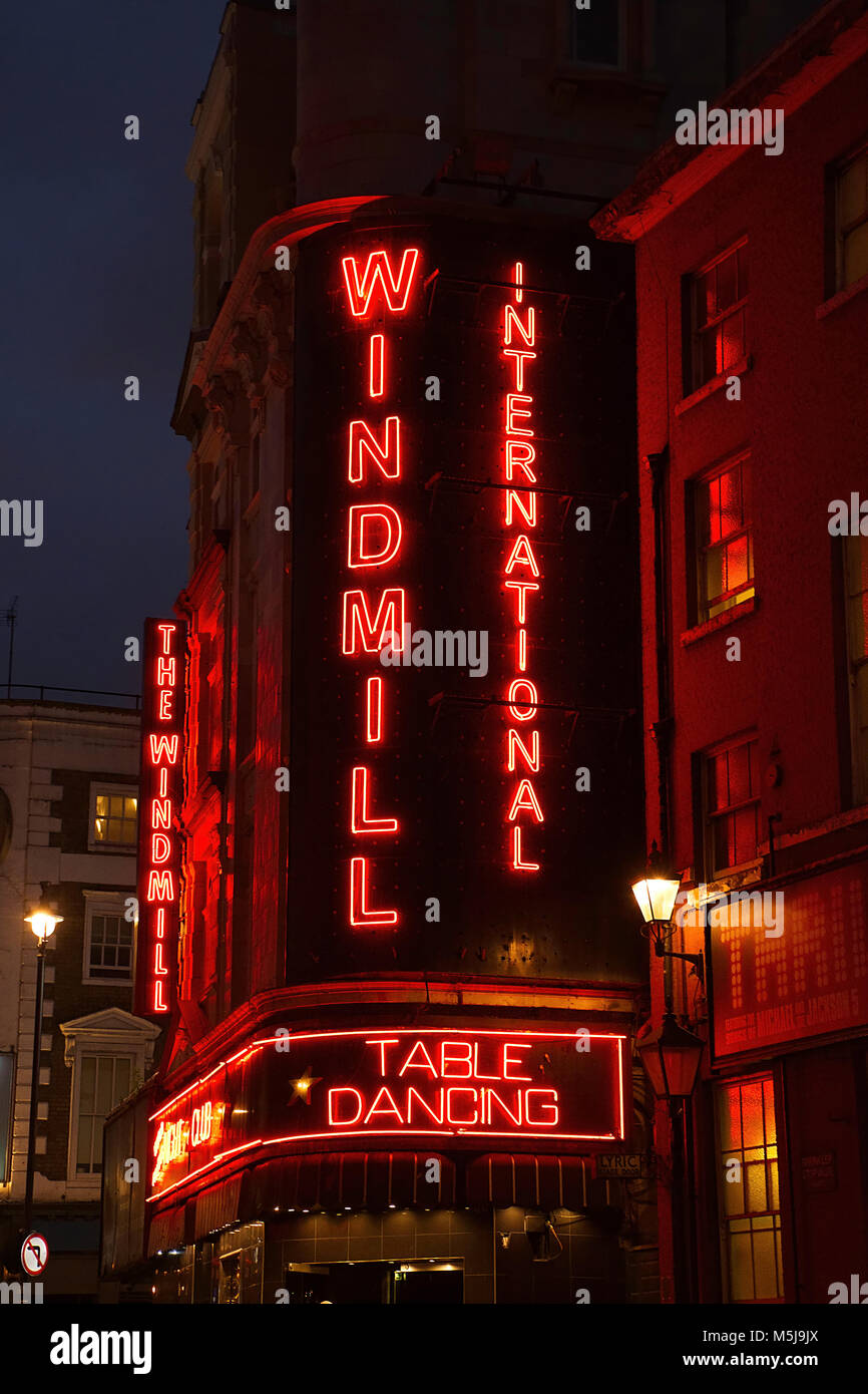Soho at night,facade of windmill nightclub,red light district,table dancing  club