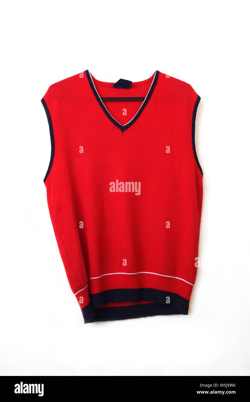 Red Wool Allen Solley Sweater Vest - Stock Image
