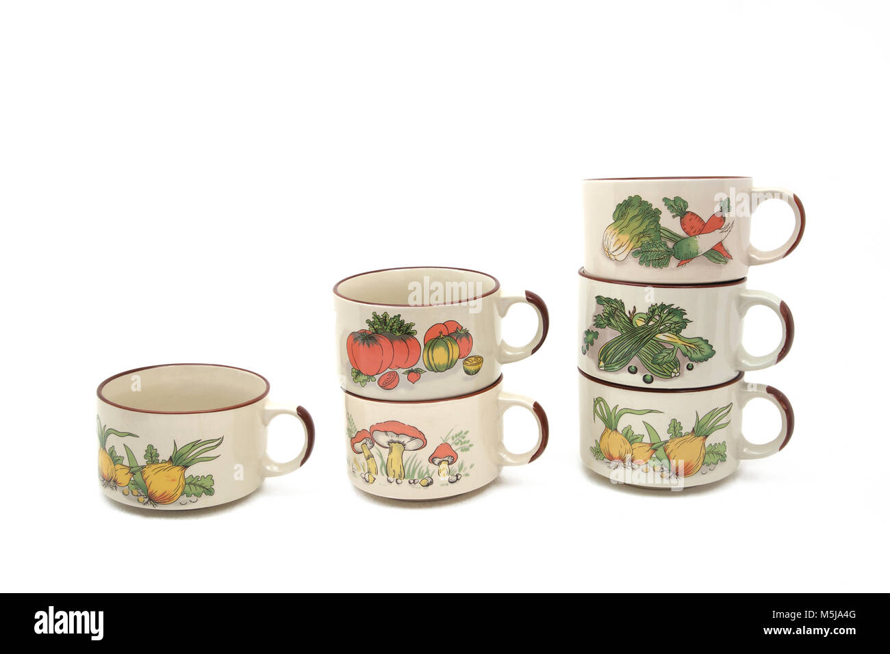 Vintage 1970's Shell Petrol Promotional Tureen Bowl and Soup Mugs with Vegetable Design - Stock Image