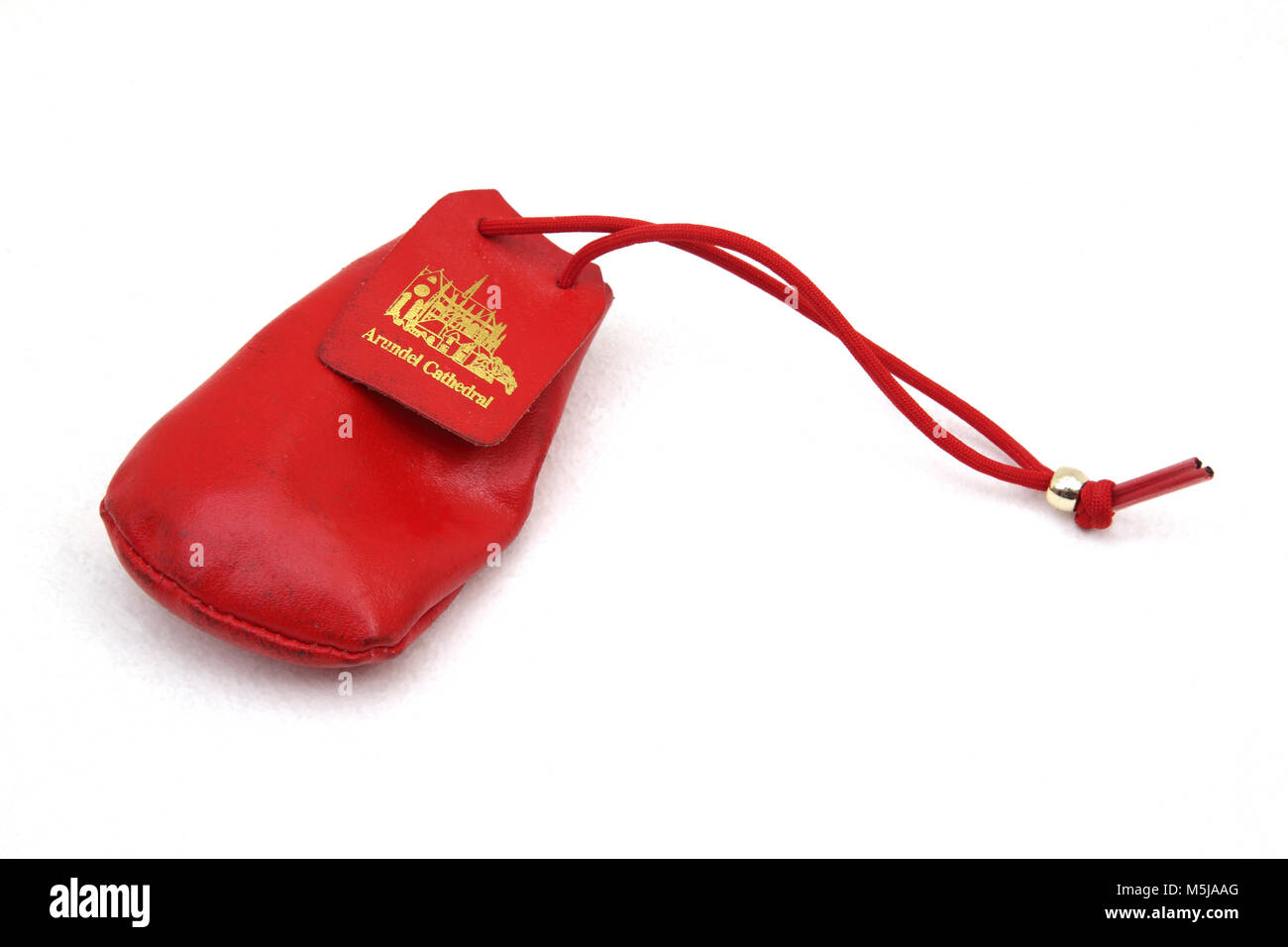 Red Leather Money Pouch Souvenir from Arundel Cathedral - Stock Image