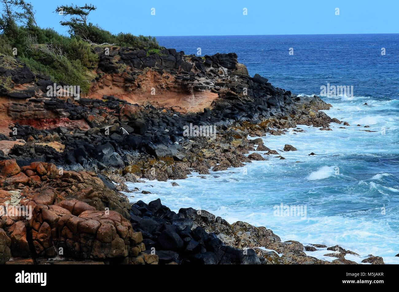 Black volcanic rock adorns the rocky beach, with pounding waves crashing up against the rocks on the shores of Hawaii - Stock Image