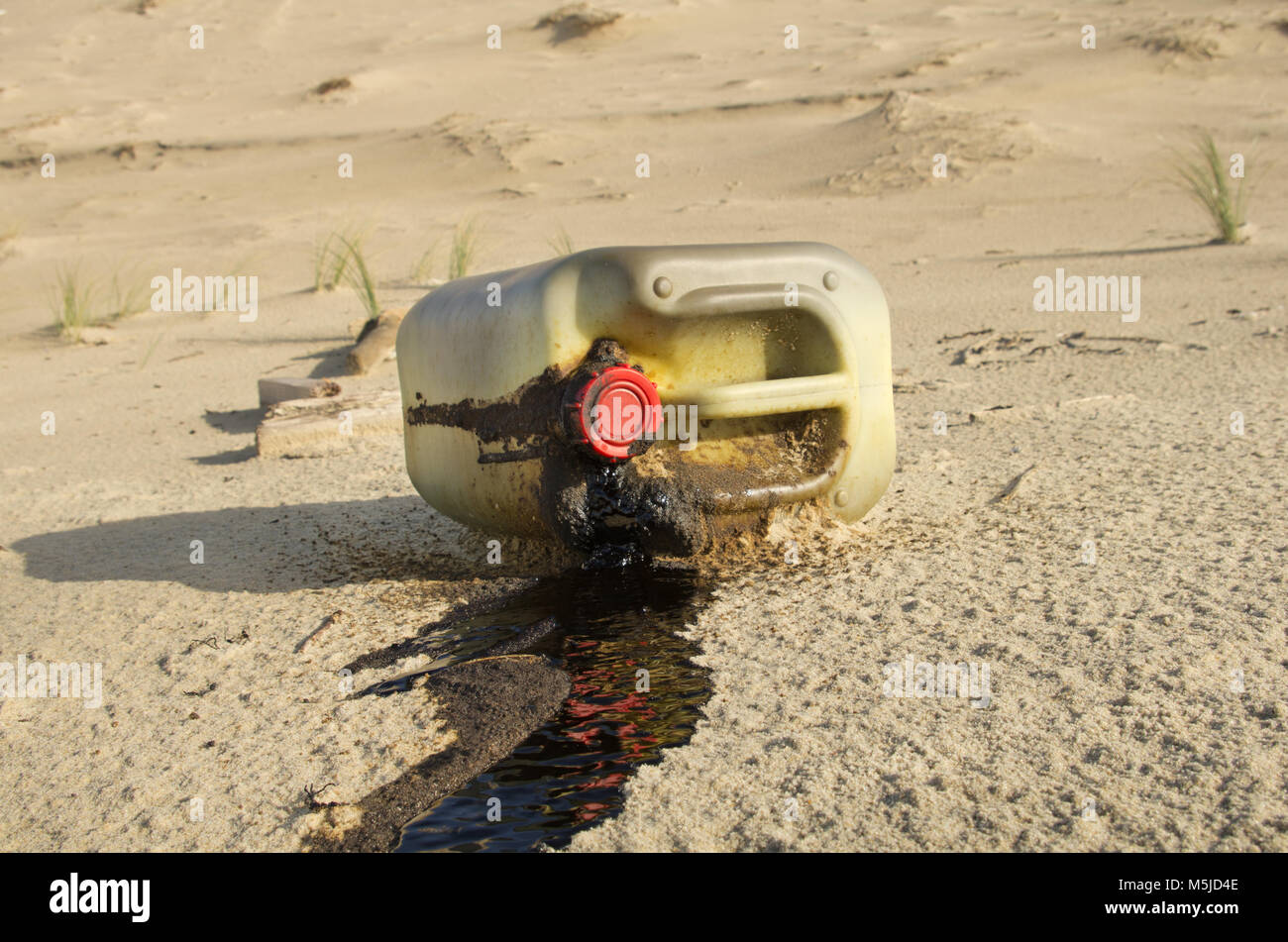 oil spilled on a beach. Water pollution - Stock Image