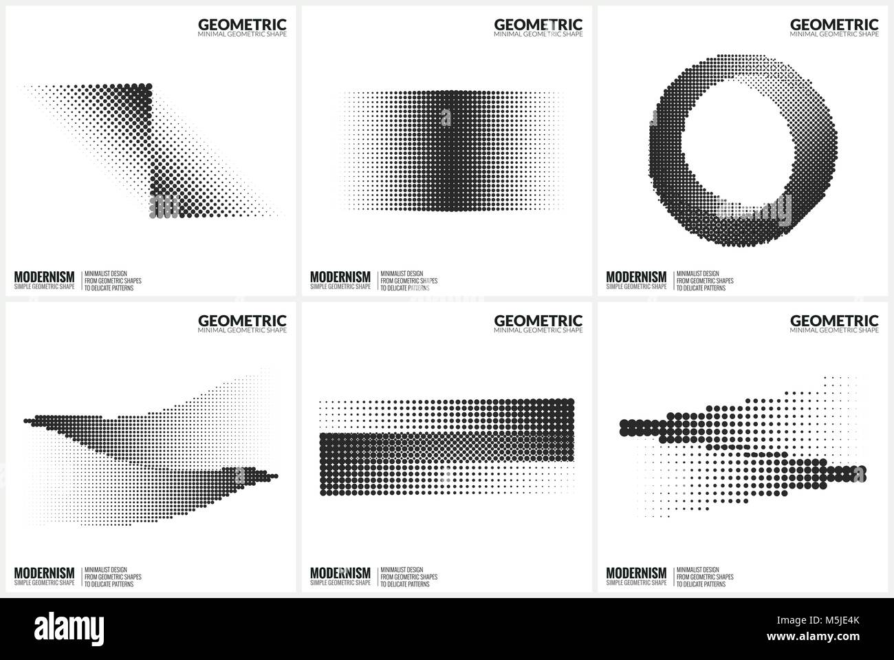 Universal Halftone Geometric Shapes For Design  Stock Vector