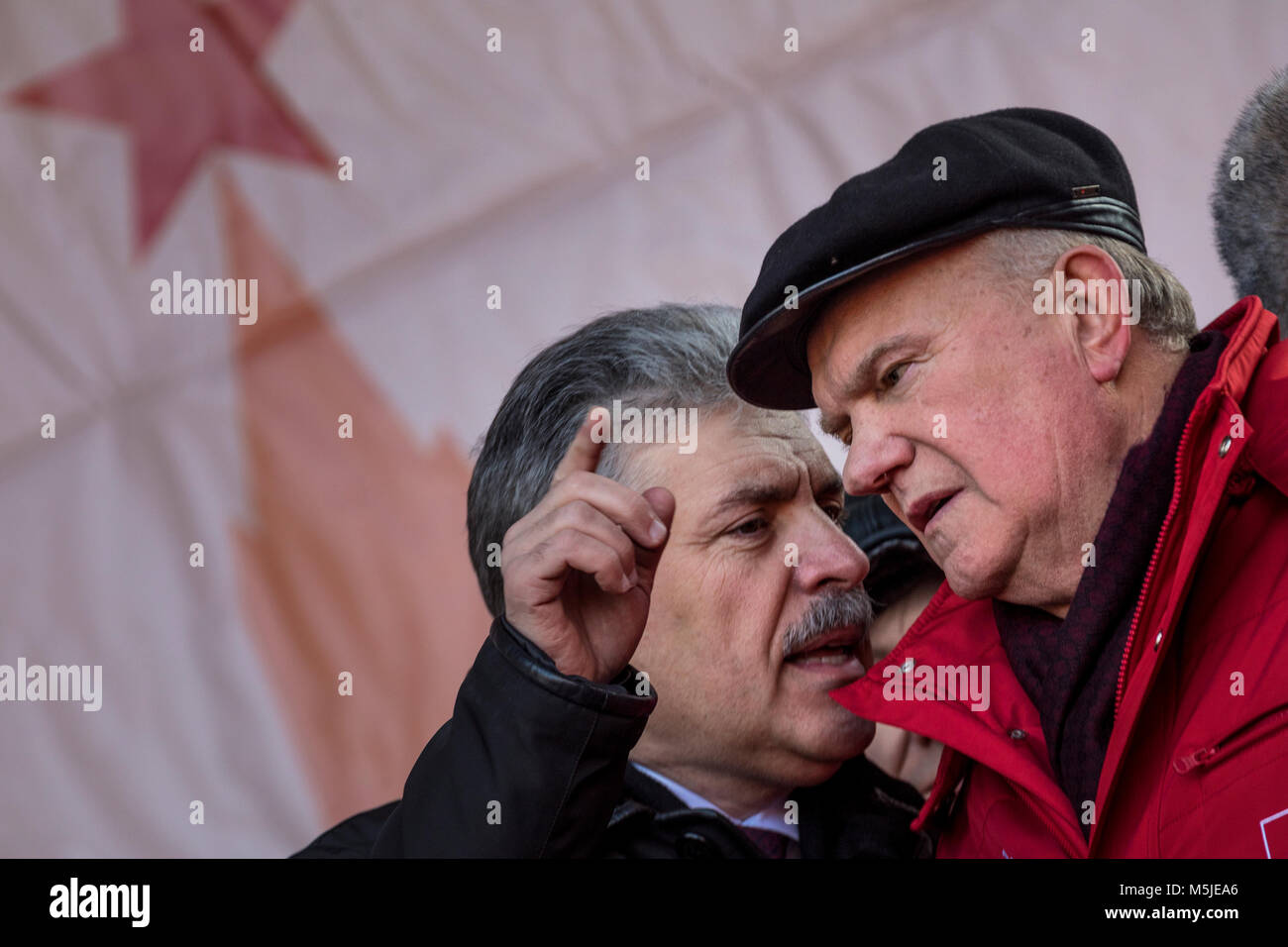 Pavel Grudinin (L), the presidential candidate for the Communist Party, and Gennady Zyuganov (R), the leader of - Stock Image