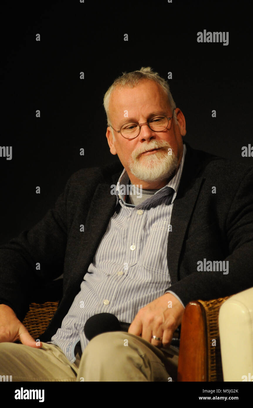 American novelist Michael Connelly attends conference at Quais du Polar literary festival, Lyon, France - Stock Image