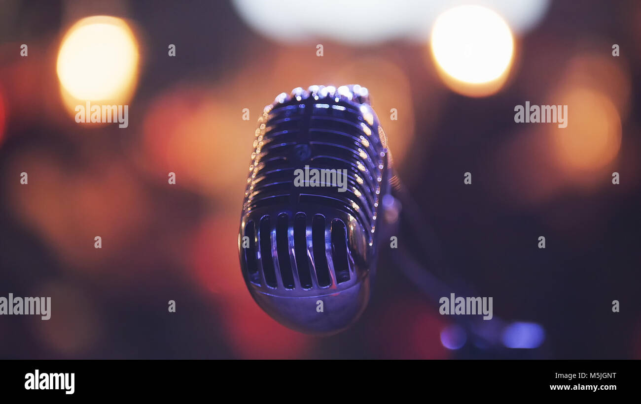 Vocal microphone in night club - Stock Image