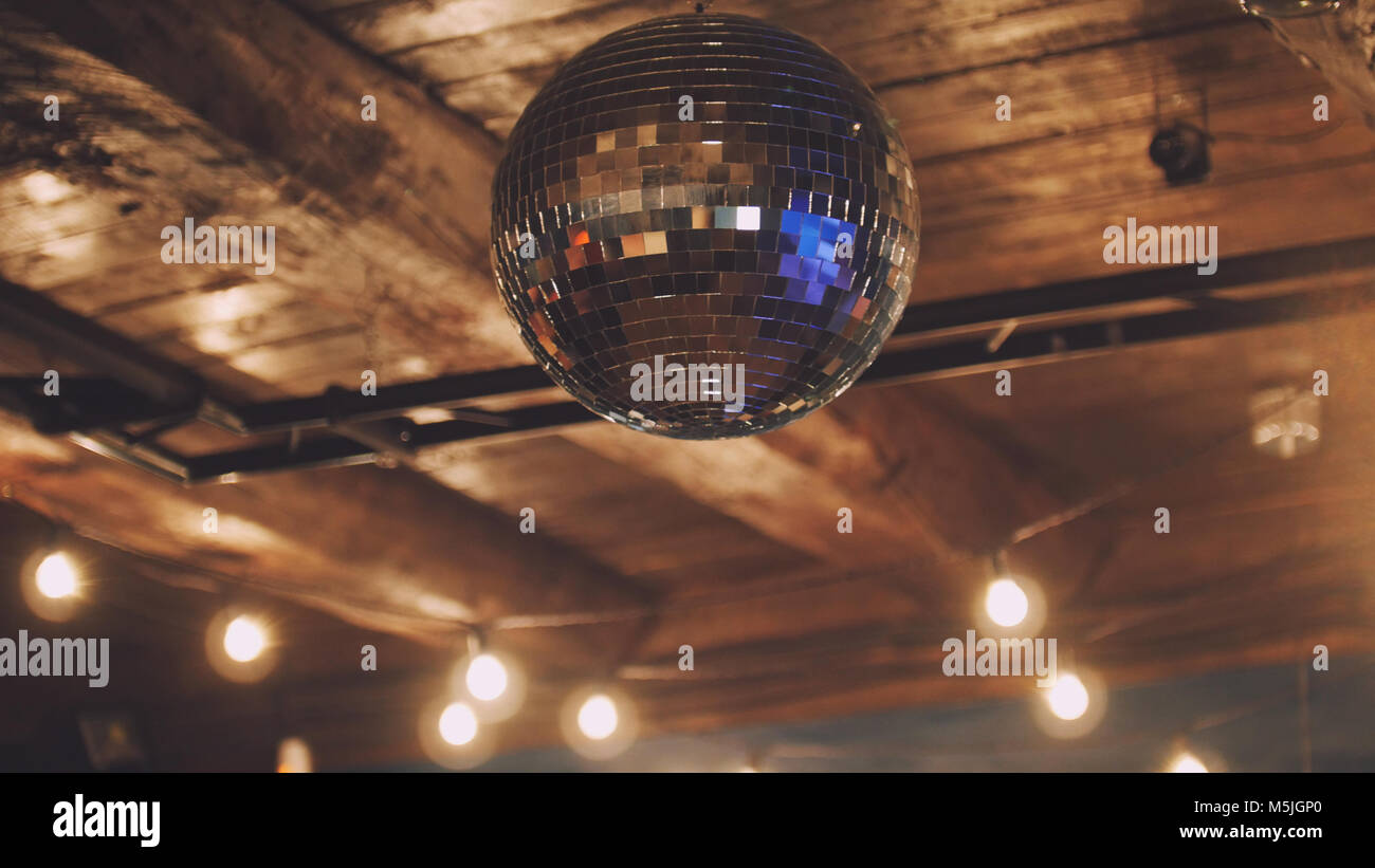 Night club disco ball at ceiling stock photo 175585256 alamy night club disco ball at ceiling aloadofball Images