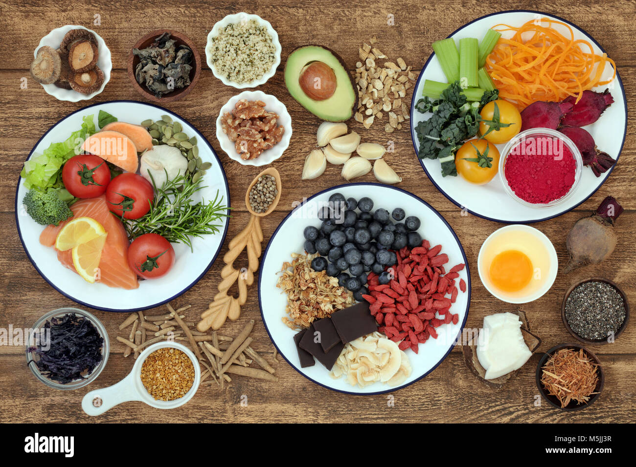 Healthy super food with health promoting properties to sharpen brain power and promote memory with food high in - Stock Image