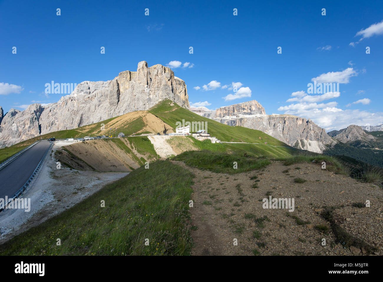 The Sella group near the Passo Sella in Val Gardena and Sass Pordoi with flowering meadows and mountain hiking trails/ Stock Photo