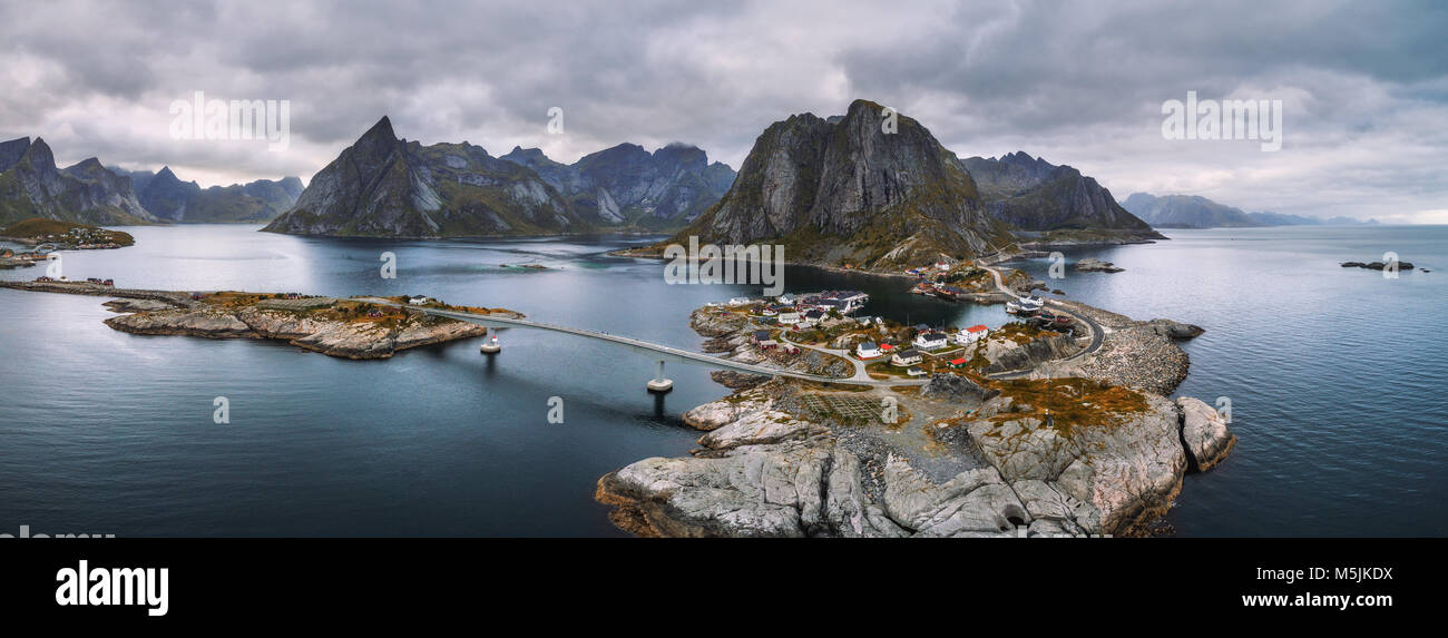 Aerial view of fishing villages in Norway - Stock Image