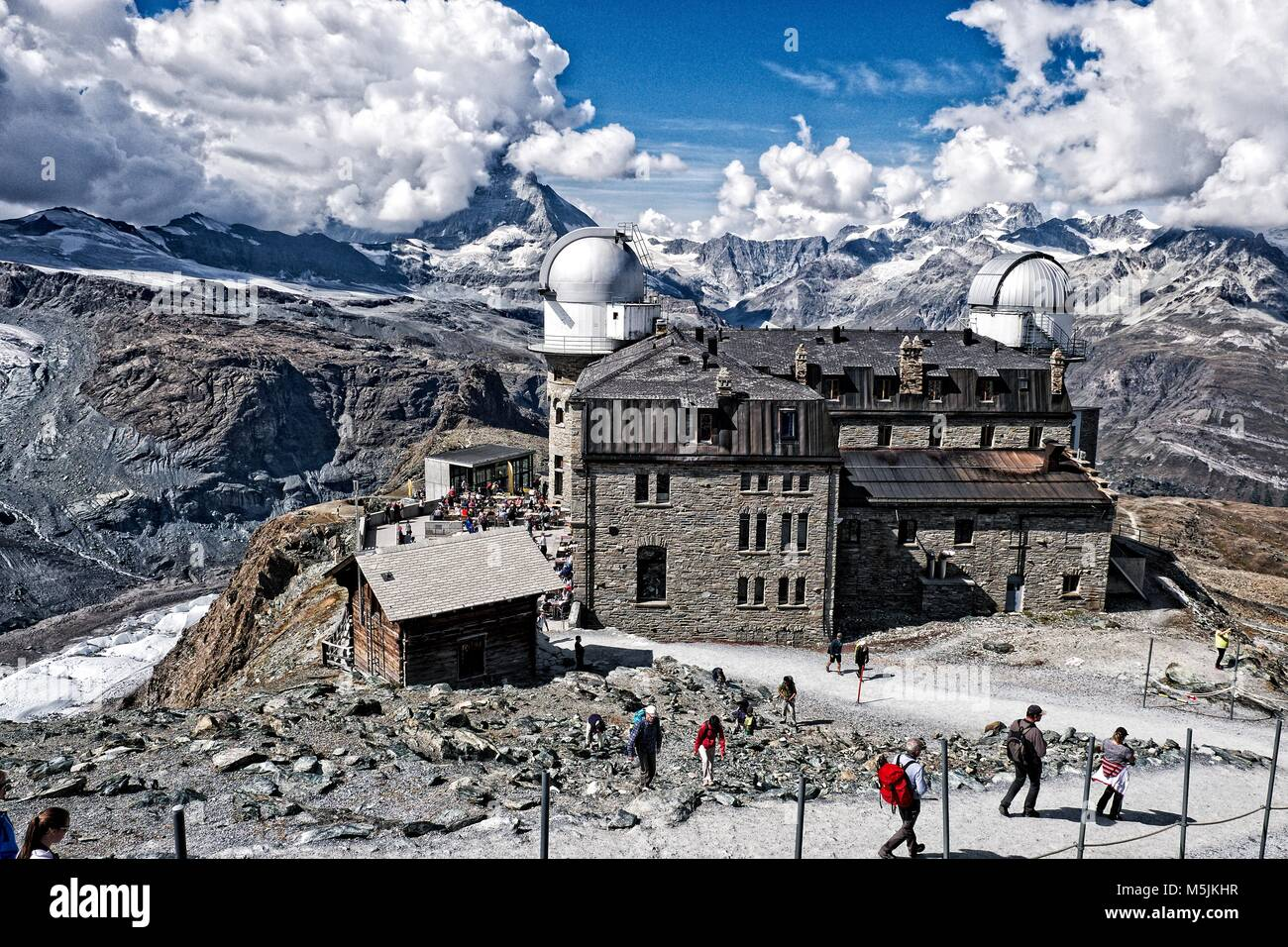 Gornergrat visitors centre, hotel and observatory is at the terminus of the Gornergrat railway above Zermatt. - Stock Image