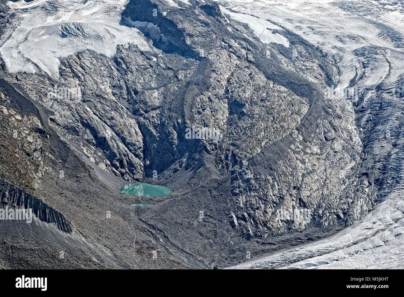Gorner See lake and rock slopes below Monte Rosa, Gornergrat, Zermatt, Switzerland - Stock Image