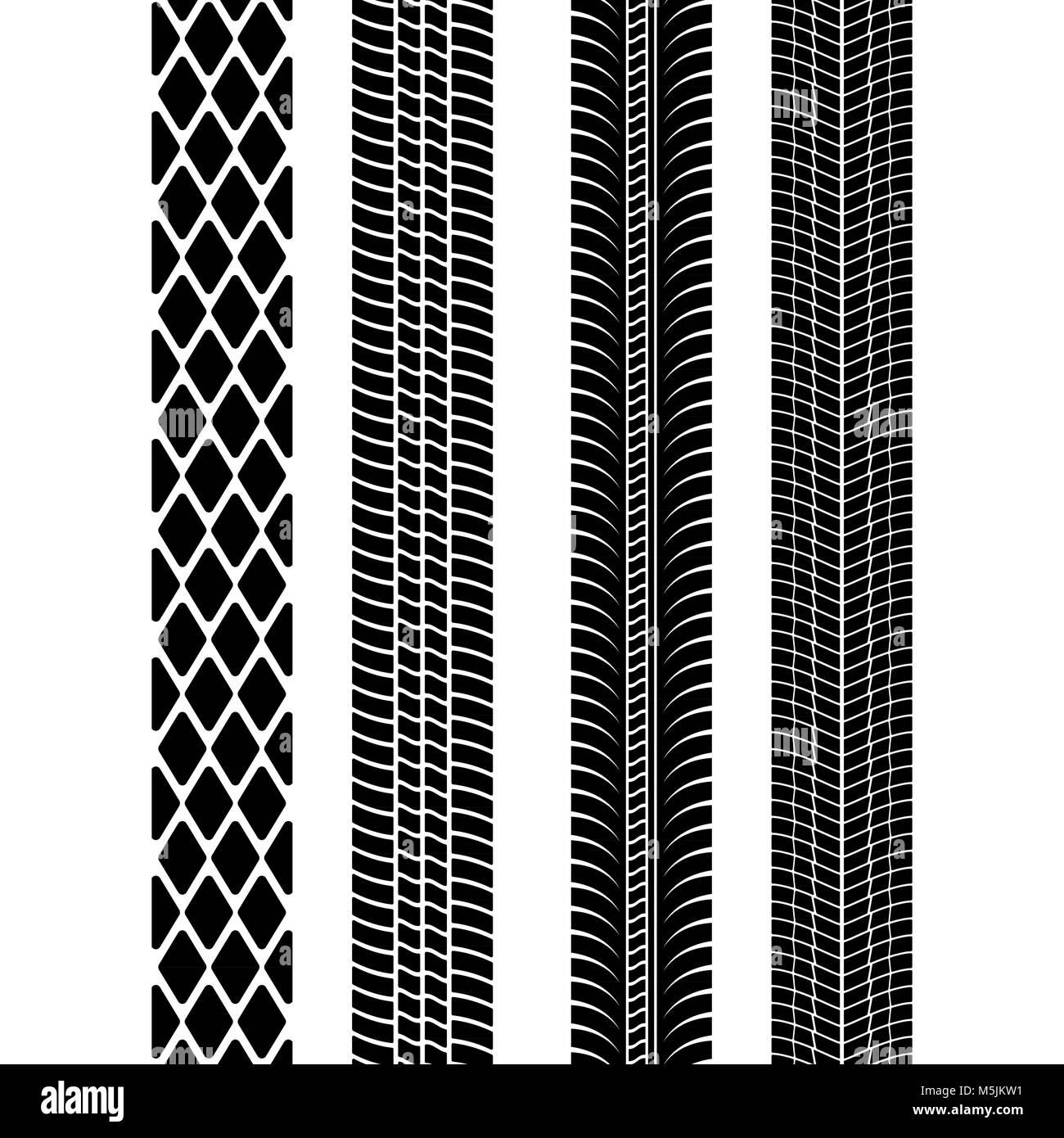 Set of detailed tire prints. Modern tire tread. Tire mark black. Vector illustration - Stock Image