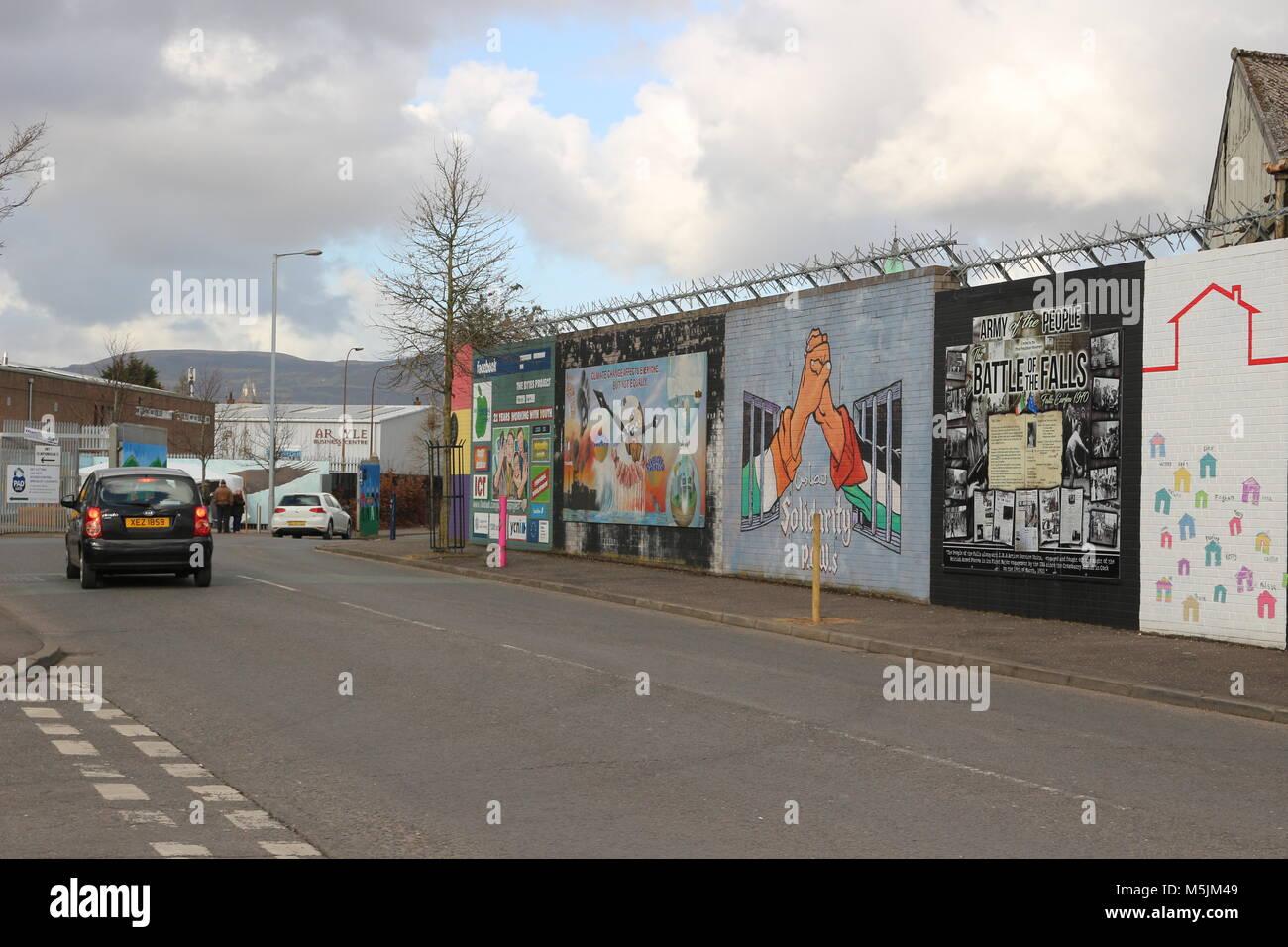 BELFAST, NORTHERN IRELAND - February 22 2018: Political mural in Belfast, Northern Ireland. Falls Road is famous Stock Photo