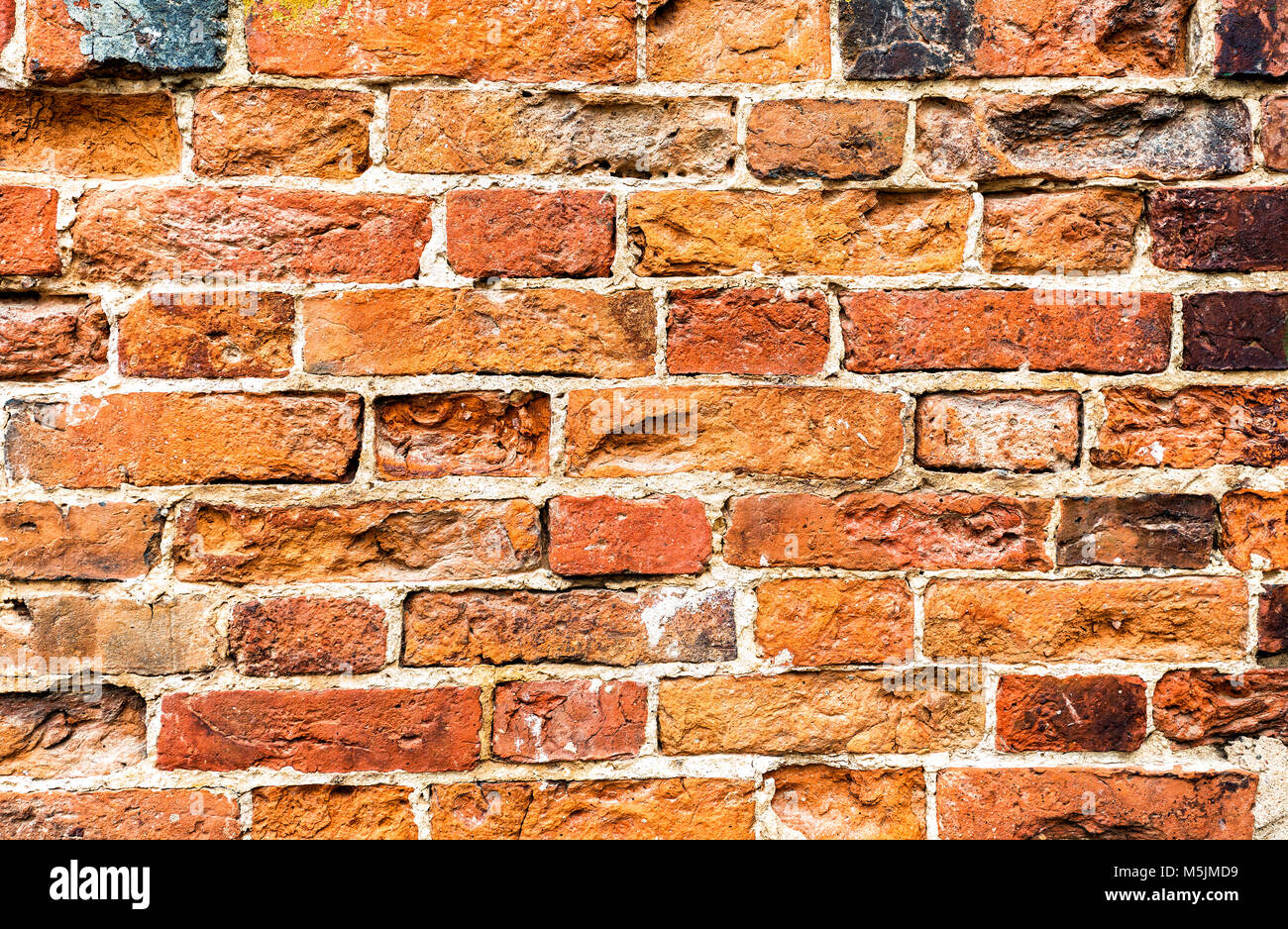 Weathered old red brick wall as background texture Stock Photo