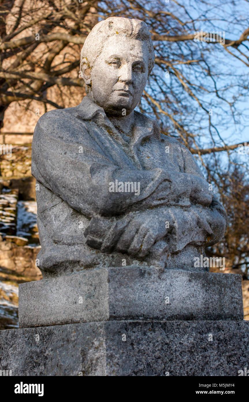 Monument to Czech novelist Jaroslav Hašek (1983) in the village of Lipnice nad Sázavou in Vysočina Region, Czech Stock Photo