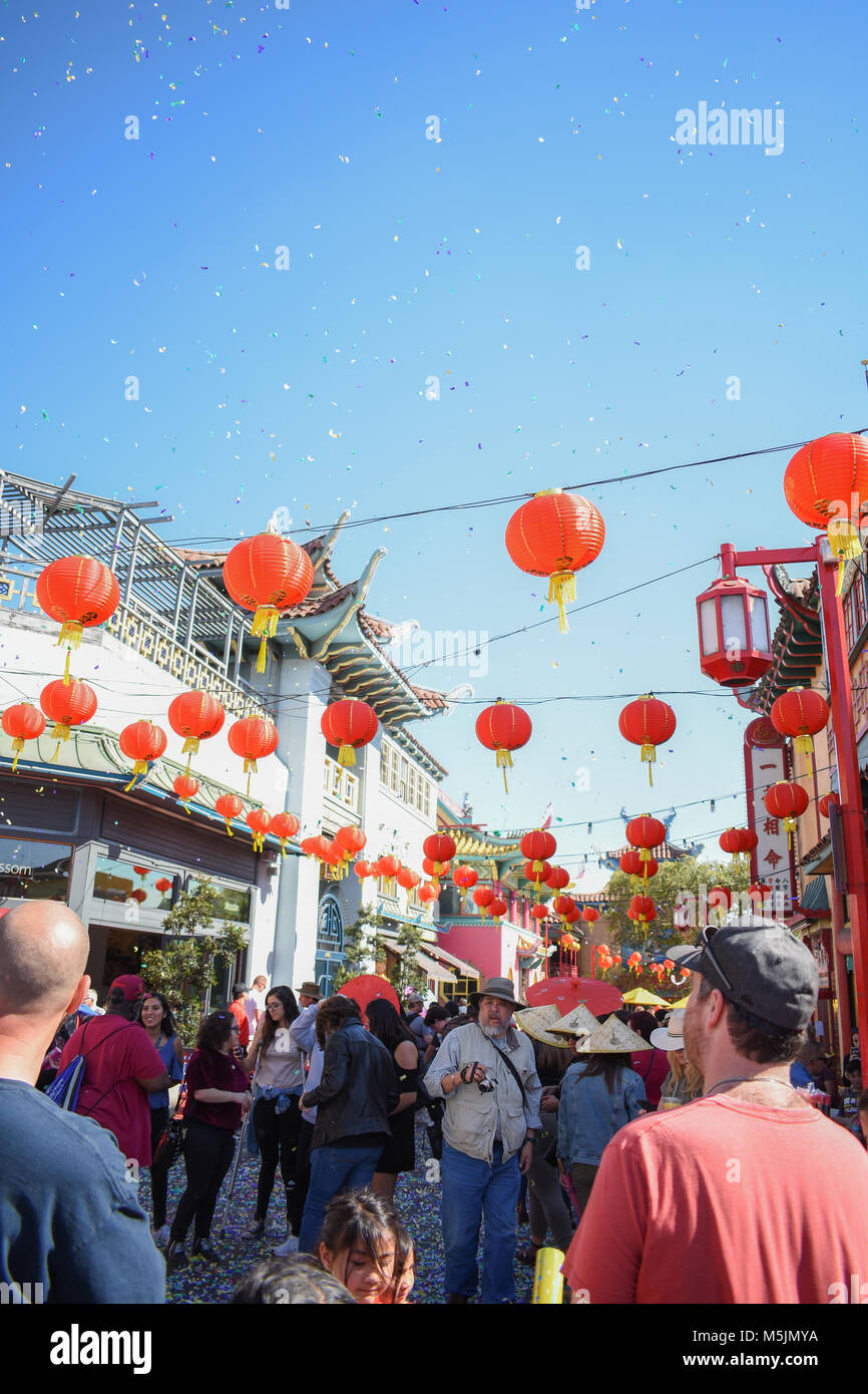 Chinese New Year 2018 in China Town Los Angeles, Ca. is celebrated with parades, crowds, and festivities. Stock Photo