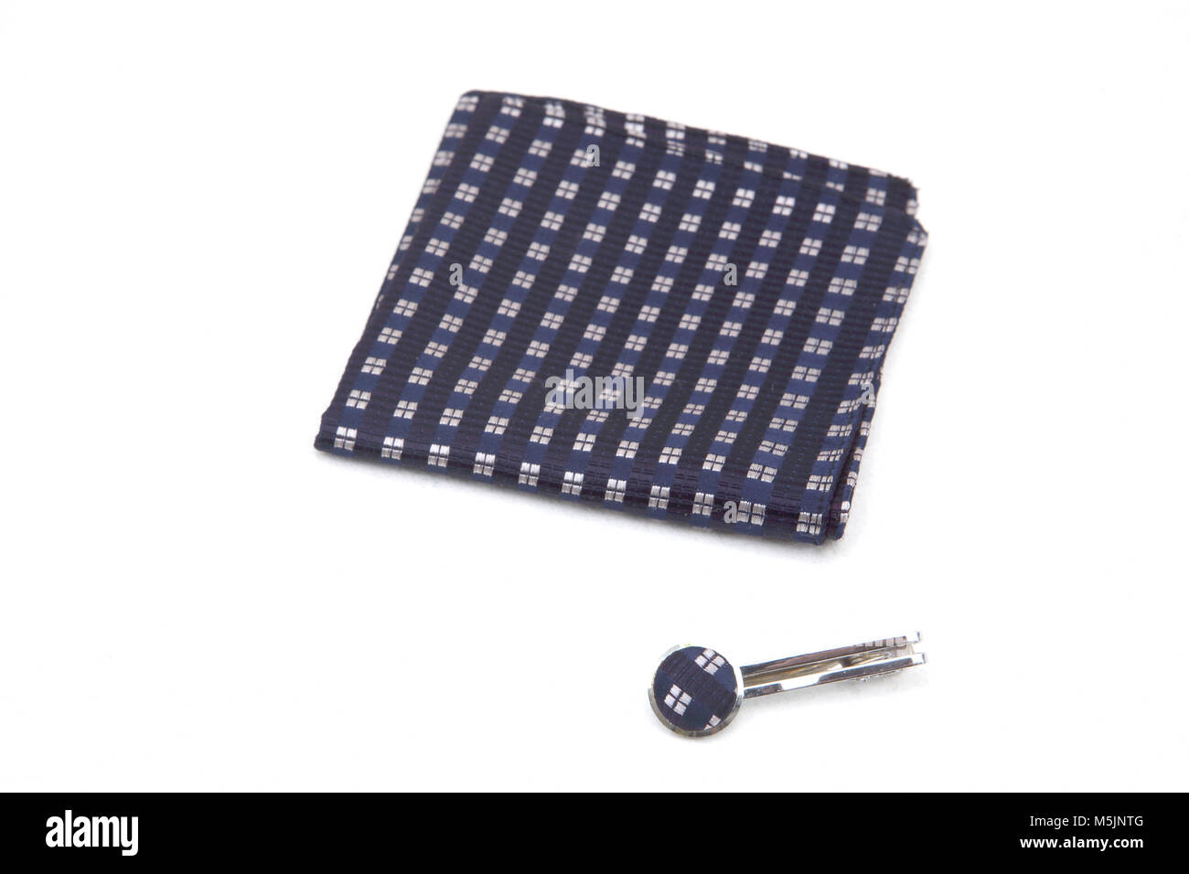 Silk Checked Blue Handkerchief and Matching Tie Pin - Stock Image
