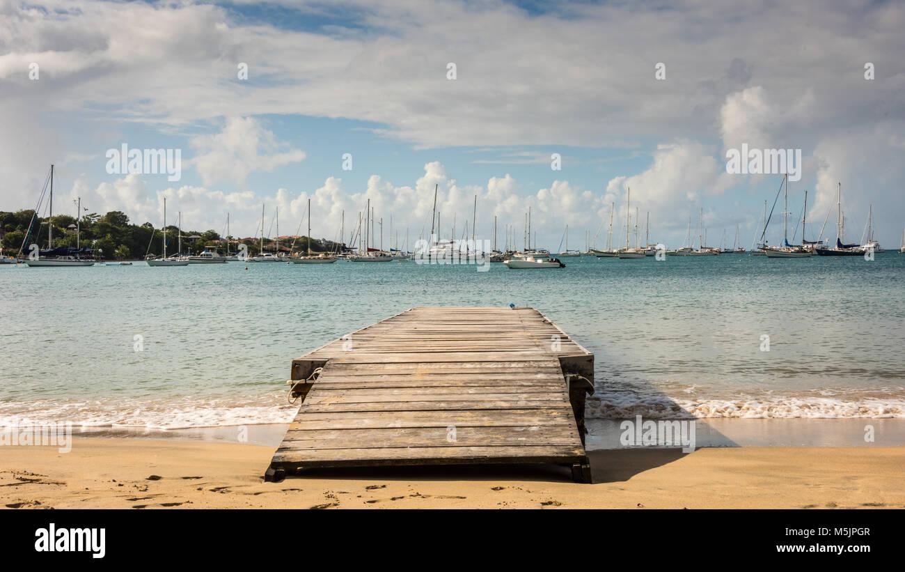 Lance Aux Epines Beach Stock Photo