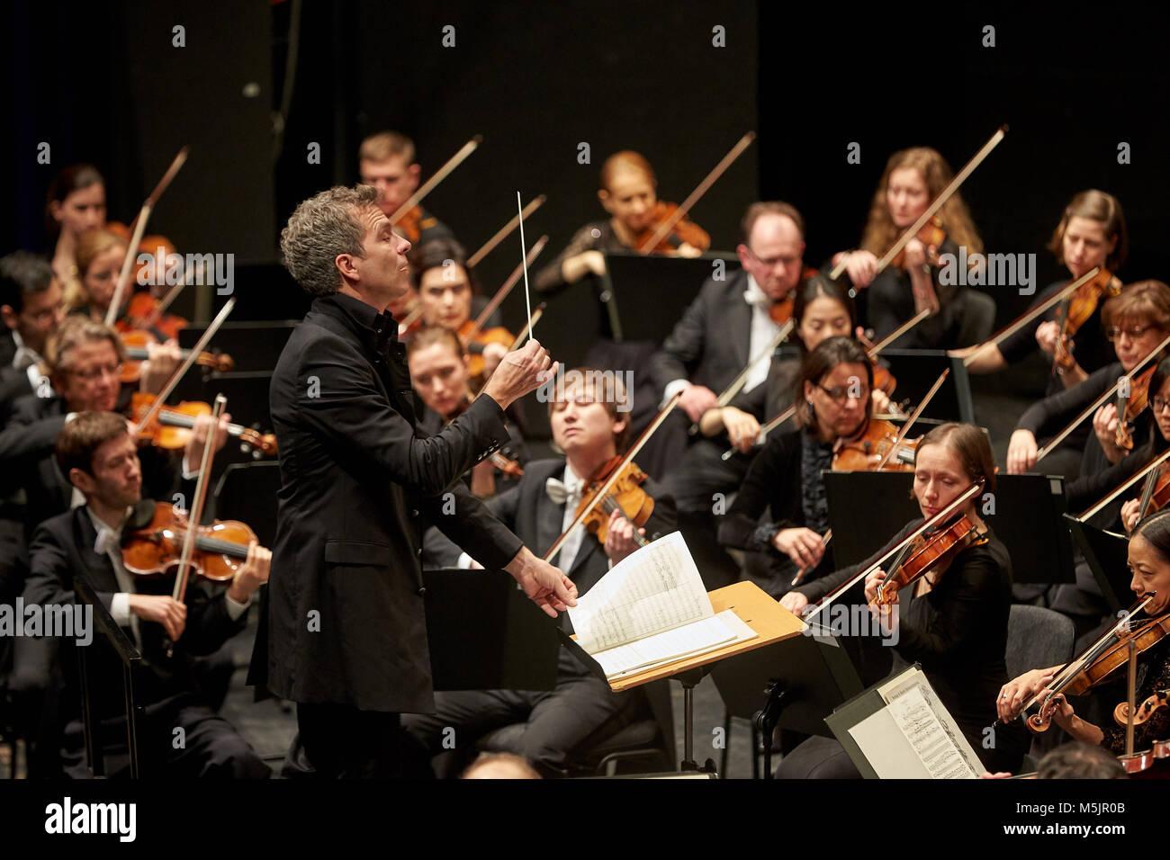 Conductor Dirk Kaftan with Beethoven Orchestra Bonn,Musik-Institut Koblenz,Koblenz,Rhineland-Palatinate,Germany - Stock Image