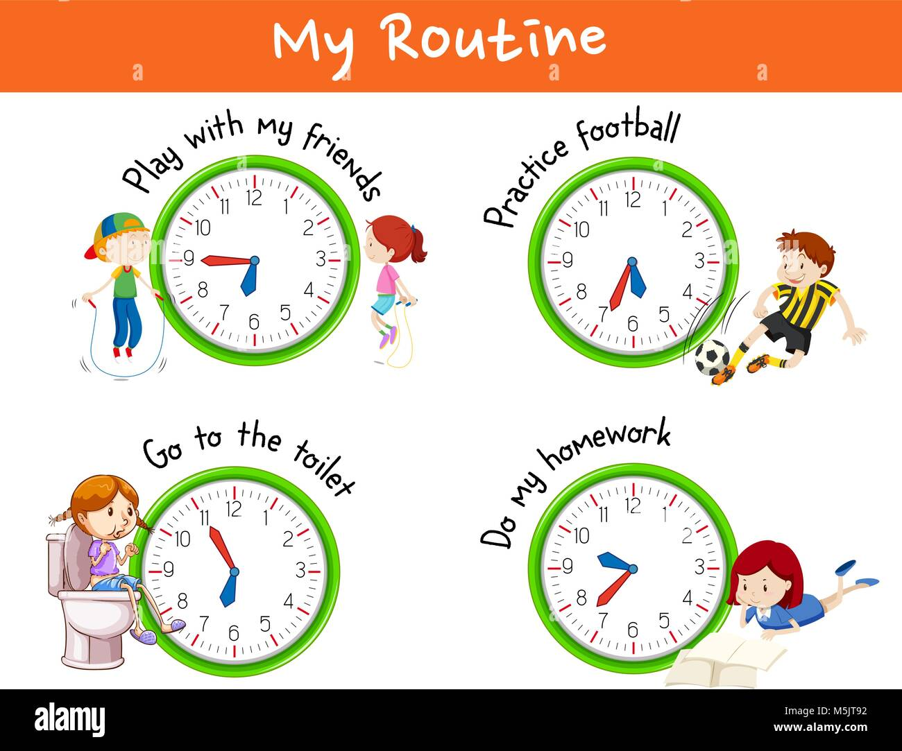 Different routines for children illustration - Stock Vector